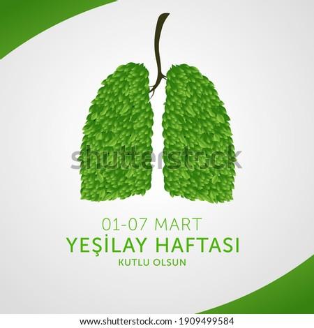 Yesilay haftasi design, vector illustration. (01-07 March social awareness week against drugs, Turkey awareness week card.)