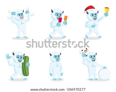 yeti cartoon set illustration