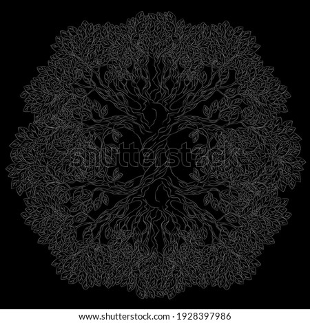 Yggdrasil tree. Vector celtic symbol of the ancient Vikings. The symbol of the ancient peoples of northern Europe. Norse cosmology, is an immense and central sacred tree. Imagine de stoc ©