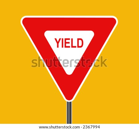 Yield traffic sign - VECTOR - stock vector