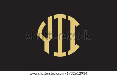 YII Circle Emblem Abstract Monogram Letter Mark Vector Logo Template