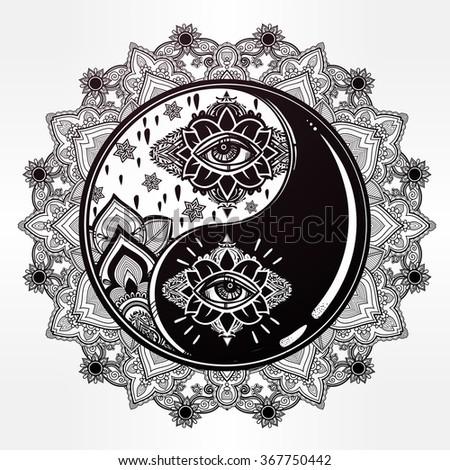 yin and yang boho mandala...