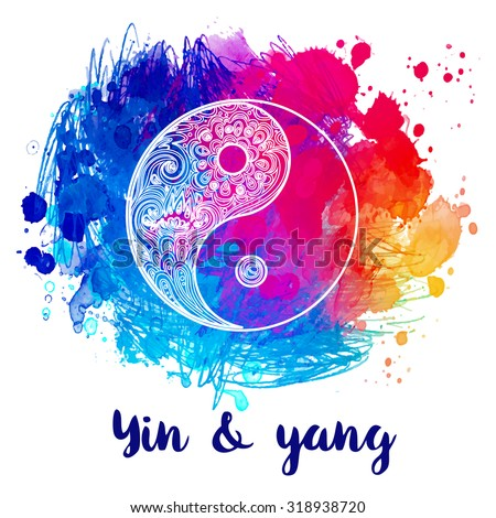Yin and yang decorative symbol. Hand drawn vintage style design element. Alchemy, spirituality, occultism, textiles art. Vector illustration for t-shirt print over colorful watercolor background.
