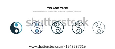 yin and yang icon in different