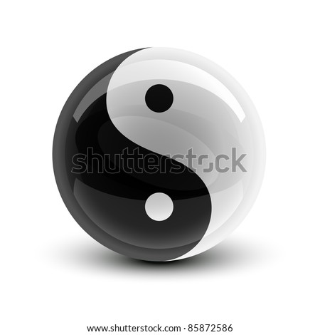 Yin and Yang symbol on a glossy ball