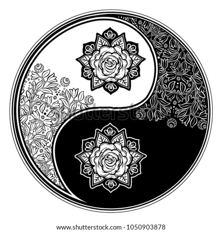 Yin and Yang Tao zen floral round decorative element. Meditation ornament with rose. Vector isolated illustration. Beautiful vintage oriental symbol of harmony, balance. Tattoo, yoga, spirituality.