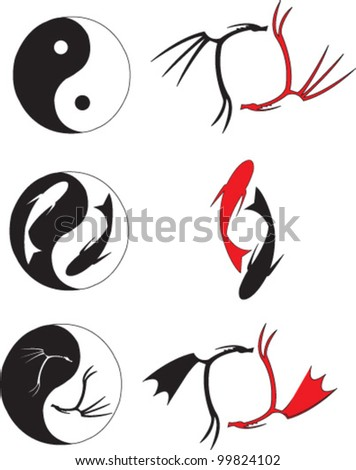 Yin and Yang with dragons and fish - stock vector