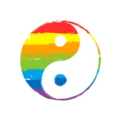 yin yan symbol. Drawing sign with LGBT style, seven colors of rainbow (red, orange, yellow, green, blue, indigo, violet