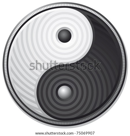 Yin Yang black and white symbol isolated on white background - vector