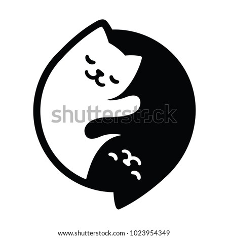 Yin Yang Cats. Simple and cute black and white cats in yinyang shape. Vector illustration.