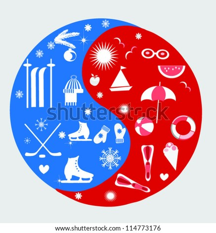 yin yang circle,winter and summer background,sports and beach objects.