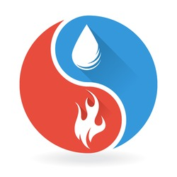 Yin Yang Concept - Water and Fire
