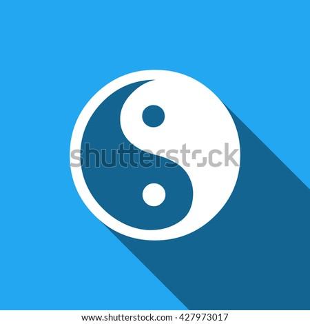 yin yang flat icon with long