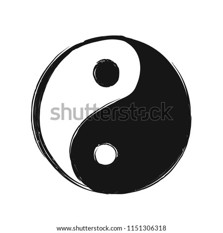 Yin Yang hand drawing logo sketch abstract symbol. Vector illustration icon design. Isolated on white background. Yin Yang buddhism sketch,hand drawn ying symbol abstract label, t-shirt print concept Stock photo ©