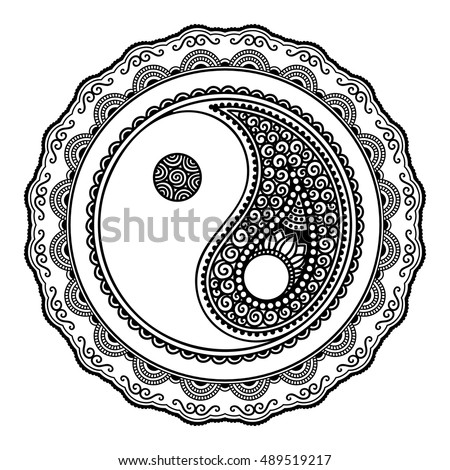 36e2f1082 Yin-yang hand drawn symbol. Circular pattern - sign interaction of  opposites for Mehndi