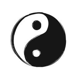 Yin Yang hand drawn symbol. Vector illustration icon design. Isolated on white background. Yin Yang buddhism label concept