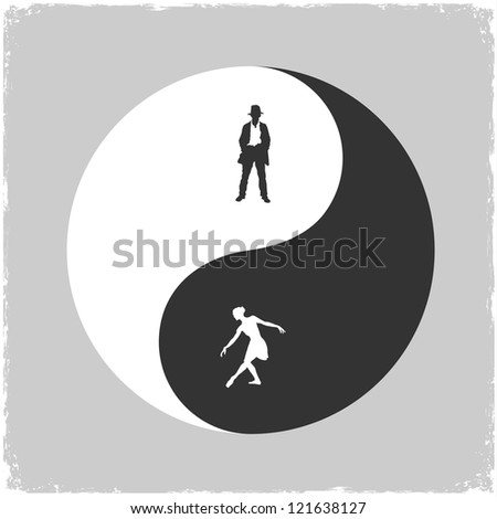 Yin Yang-Male and Female symbol. Concept vector illustration