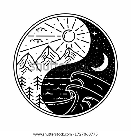 yin yang monoline outdoor badge design Stock photo ©