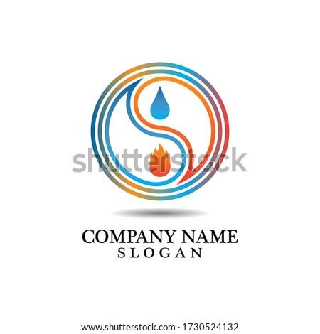 yin yang of fire and water logo