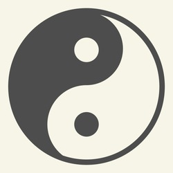 Yin Yang solid icon. Harmony and balance symbol, glyph style pictogram on beige background. Yin-yang Buddhism philosophy sign for mobile concept and web design. Vector graphics
