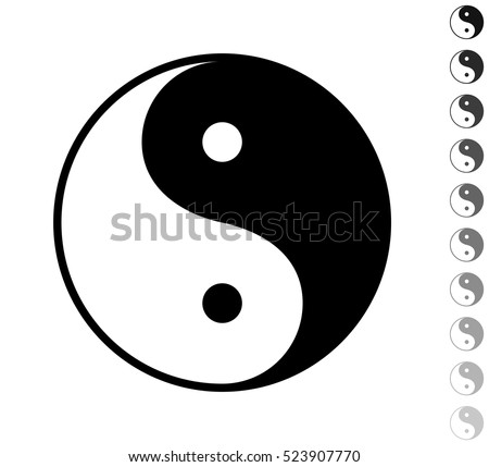 Yin yang symbol - black vector icon and ten icons in  shades of grey