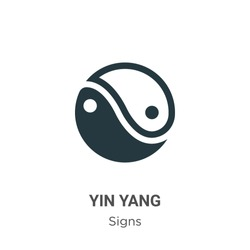 Yin yang symbol glyph icon vector on white background. Flat vector yin yang symbol icon symbol sign from modern signs collection for mobile concept and web apps design.