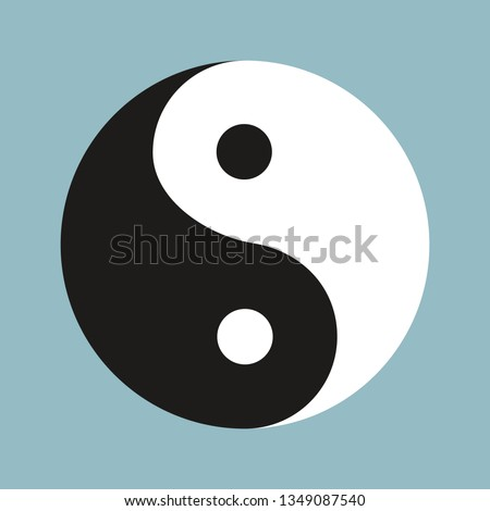 Yin Yang symbol of Chinese phylosophy describes how opposite and contrary forces may be complementary, interconnected and interdependent. Black and white illustration on blue background.