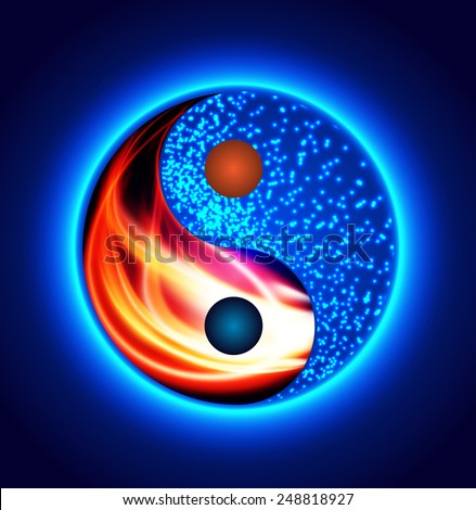 yin yang symbol red fire and