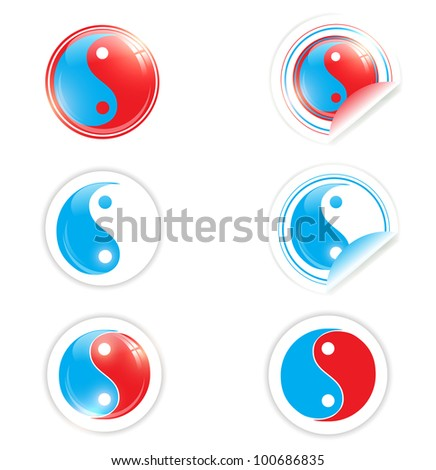 yin yang symbol set in red and blue over white