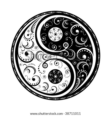 Yin Yang Symbol vector illustration. EPS8, all parts closed, possibility to edit.