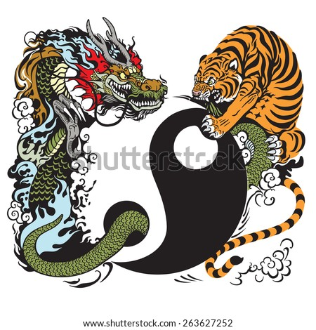 yin yang symbol with dragon and