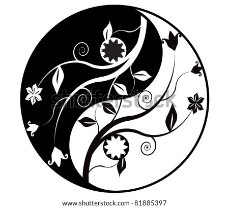 Yin yang symbol with ornaments - stock vector