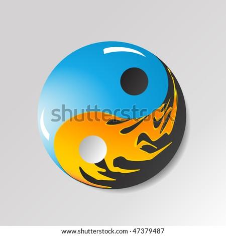 yin yang symbol with water and