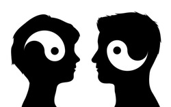 Yin yang symbols in man and woman head silhouettes, relationship concept, vector illustration
