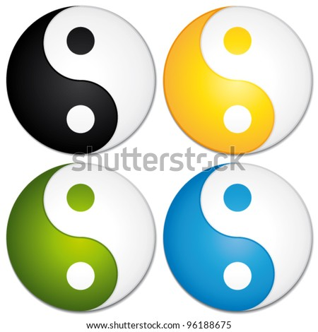 Yin yang symbols set. Colorful vector icons.