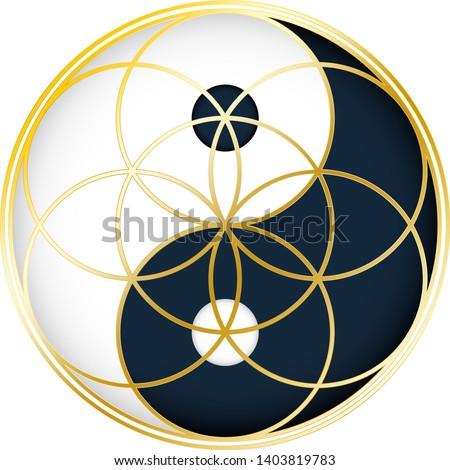 Yin Yang with Seed of Life Sacred Geometry