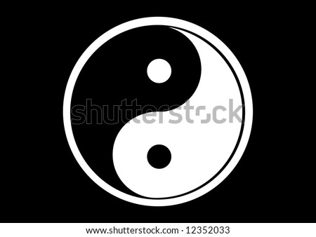 Ying and yang symbol..Black&White..