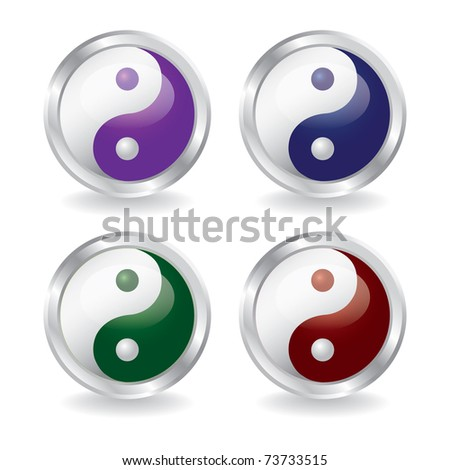 ying yang buttons with shadow - eps10  illustration
