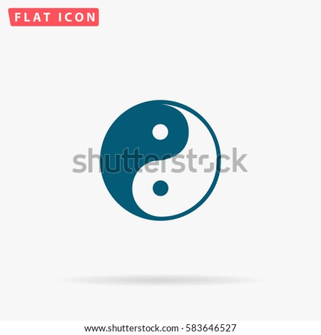 Ying yang Icon Vector. Flat simple Blue pictogram on white background. Illustration symbol with shadow