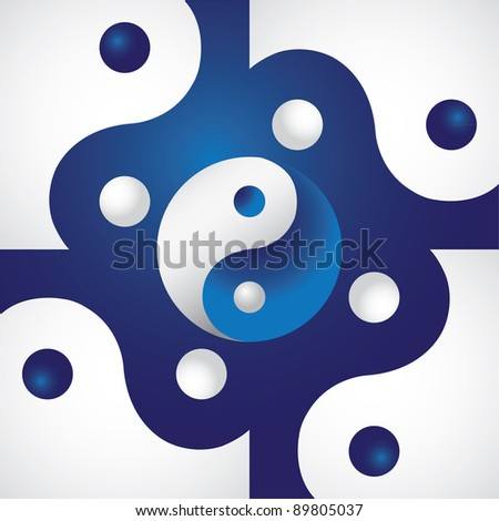 Ying yang in abstract screen - illustration