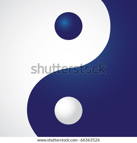Ying yang in rectangle - illustration