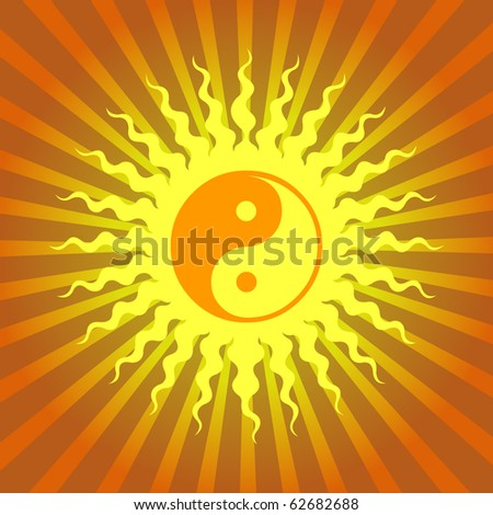 Ying Yang Sign On Burst Background - stock vector