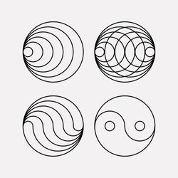 Ying yang symbol of harmony and balance. Sacred geometry. Line geometric ornament on the eastern esoteric symbols.