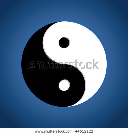 Ying Yang Symbol on blue background, vector illustration