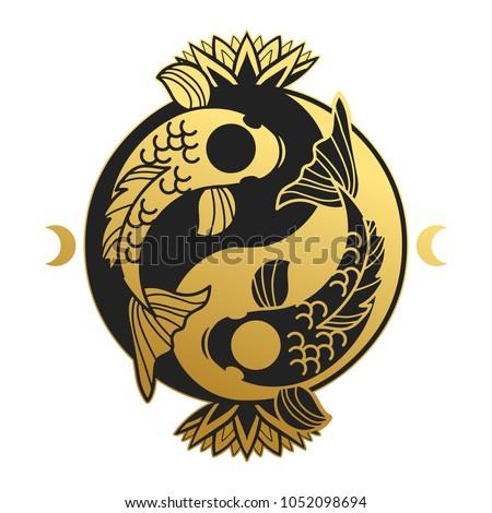 ying   yang symbol with koi