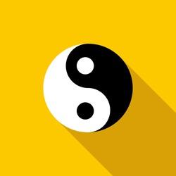 Ying yang yin icon. Flat illustration of ying yang vector logo symbol for web