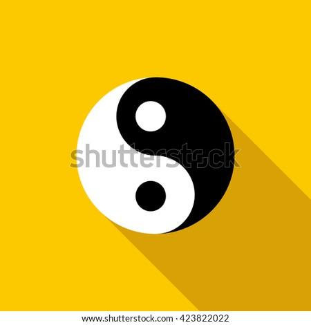 ying yang yin icon flat