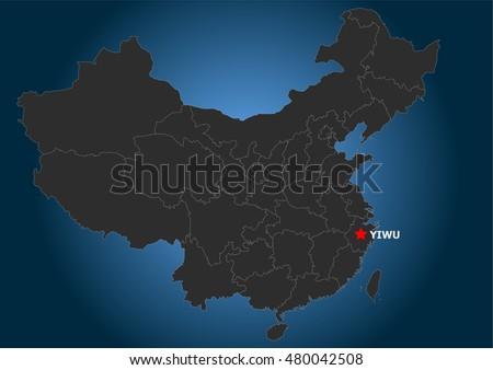 Yiwu Market Position, China, Map