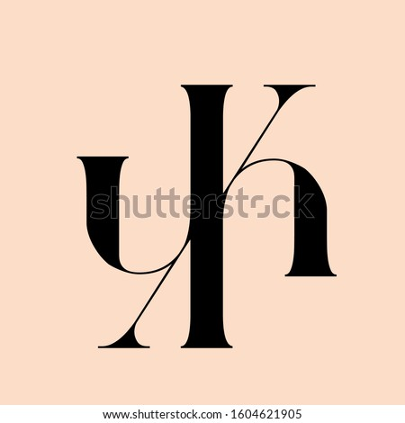 YK monogram logo.Elegant style typographic icon.Lettering sign.Alphabet initials isolated on light pink background.Uppercase luxury letter y and letter k.Beauty,boutique,modern design characters.
