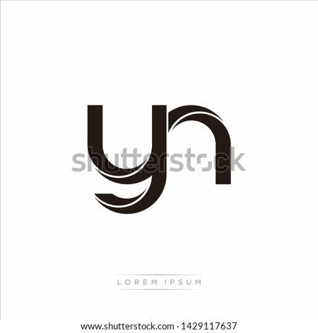yn y n Initial Letter Split Lowercase Modern Monogram linked outline rounded logo Stok fotoğraf ©
